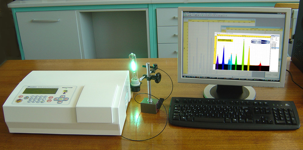 Measurements of Absorbances in cuvettes and Emissivity of external sources, on a single instrument<br><span class='descslider'>Easyspec is a true spectrophotometer, which can be validated on certified standards, stable at 0.0001A and measuring up to 3.5A, fitted with fiber optics to measure external sources</span>